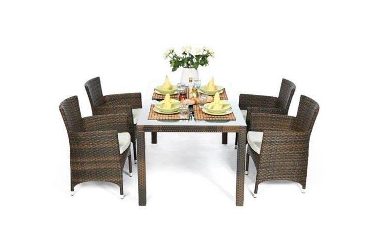 Rattan Gartentisch Set Nairobi 4 Stühle Mixbraun