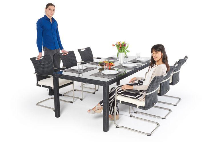 Rattan Gartentisch Leon Mit 6 Stühlen